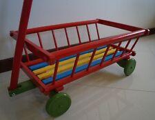 Tirare in legno Rimorchio per i giocattoli, Tutti Terrain CARRO CARRELLO, Retrò Flyer Wagen, Rosso