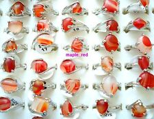 Wholesale bulk lots 20pcs assorted Red Agate stone Rings jewelry Gift