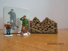 Dept 56 Wood Cutter & Son #5986-2 & Stack Of Fire Wood