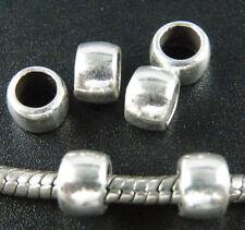200pcs Tibetan Silver Smooth Big Hole Bead Spacers Fit Bracelet 7x5mm 12014