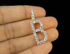 "Real 10K Yellow Gold Letter ""B"" Initial Round Cut Diamond Charm Pendant Alphabet"
