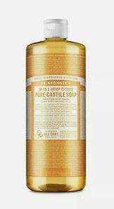 Pure Castile Liquid Soap 18 In 1 Hemp Citrus Laundry Dishes Dr. Bronner's 32 oz