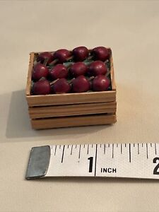 Dollhouse Miniatures 1:12 Artisan Made Apples In Wood Crate