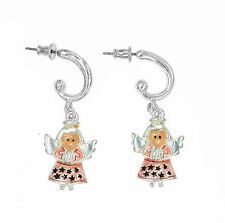 QUALITY SILVER CUTE CHRISTMAS LITTLE ANGLE DROP EARRINGS GIFT COSTUME JEWELLERY
