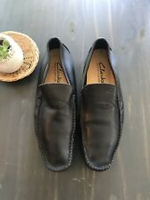 Clarks Black Leather Driving Loafer Moccasins Size 46/ 12