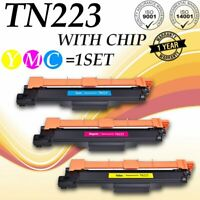 3 PK TN223 Color With Chip Toner For Brother MFC-L3710CW MFC-L3750CDW MFC-L377