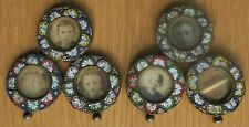 More details for rare & unusual pair of antique micro mosaic triple photo frames