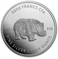 2020 Republic of Chad MANDALA HIPPO 1 oz Silver Coin BU .999 In Mint Capsule!