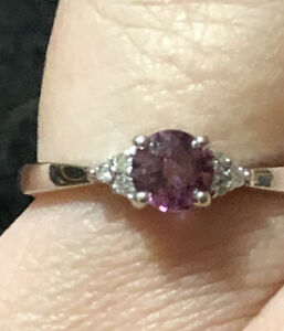 Pretty Purple Spinel 14k White Gold Ring Size 7.5