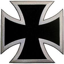 IRON MALTESE CROSS BLACK SILVER BORDER MC Club Motorcycle Biker Vest Patch