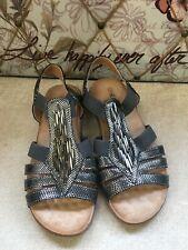 Heavenly Feet Ladies Grey Metallic Sandals Size 4