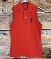 Women's Polo Ralph Lauren Sleeveless Tennis Pique Polo Shirt Big Pony Red Size S