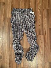 Fashion House Plaid Jogger Pants Juniors size Large Ruched Sides