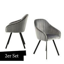 Samt Stuhl Grau 2er Set Esszimmerstuhl Wohnzimmer Stühle Beine Schwarz