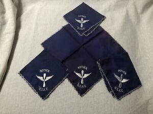 (4) Vintage 1950s USAF Mother Silk Handkerchief United States Air Force Era Blue
