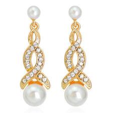 Vintage Style White Pearl Plait Tear Gold Yellow Bridal Drop Stud Earrings E1322