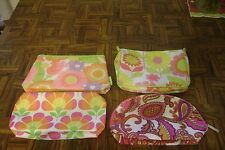 New LOT 4 Different CLINIQUE Fabric Mod Retro Cosmetic Make Up Bags Wristlet