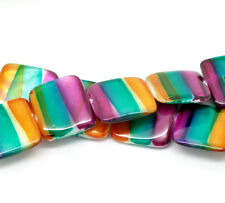 2 Strands(2x20PCs) Multicolor Square Straip Shell Loose Beads 20x20mm 39cm