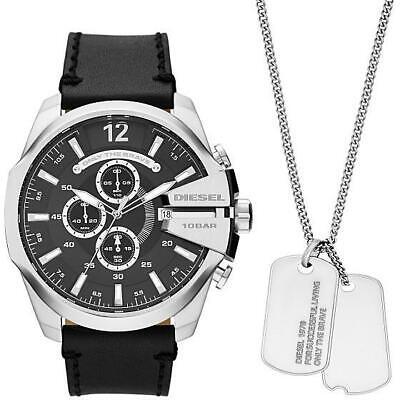Reloj de Hombre + Collar DIESEL MEGA CHIEF DZ4559 Chrono Cuero Negro Acero