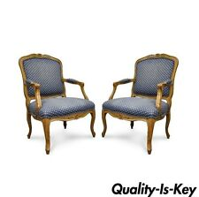 Pair of Vintage Country French Louis XV Style Arm Chairs Beechwood Fireside Blue