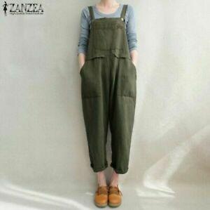 2021 Retro Cotton Dungaree Jumpsuits Casual Loose Playsuits Pocket Overalls