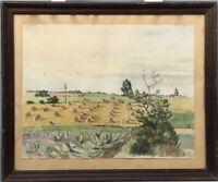 Sommerlandschaft mit Kornhocken Ernte Dänemark 1944 Marna signiert 46,5 x 56,5