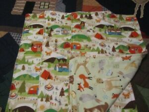 Set of Three Green  Woodland Animal/Camping Double-sided Flannel Burp Cloths