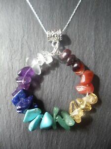 Chakra Pendant 925 Sterling Silver Necklace Gemstone Crystal Circle Healing Gift