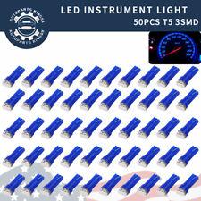50x Blue T5 74 Wedge 3SMD LED Instrumental Cluster Gauge Dashboard Light Bulb 73