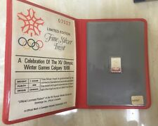1988 Calgary Olympics Official Commemorative .999 Fine Silver Ingot