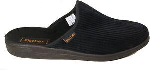 FISCHER Hausschuhe Pantoffeln Latschen Puschen Cord blau NEU Größe 48-41