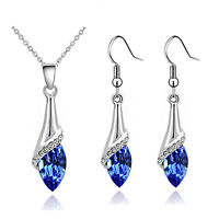 Elegante argento blu scuro OCCHI DI CRISTALLO SET Gioielli Orecchini a goccia &