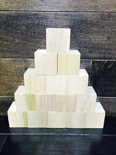 "1.5 inch set of 15 1.5"" unfinished 1 1/2"" X 1 1/2"" wood blocks cubes"