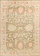 Antique Floral Oushak Hand-Knotted Turkish Area Rug Oriental Green Carpet 9x12