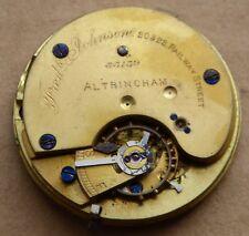 Pocket watch movement, 34 mm, Frederick Johnson Altrincham, running.