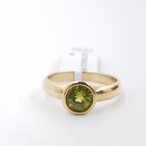 9ct 3.0gr Yellow Gold Peridot August Birthstone Ring Size N #46665