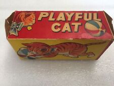 1940's ALPS Japan Tin Wind up Playful Cat, Works, With Box