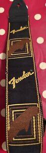 1970's-vintage Original Fender-logo Embroidered Monogram Guitar Strap - NICE !