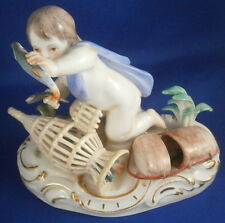 Meissen Porcelain Putto Fishing Figurine Figure Porzellan Figur Fisherman Angler