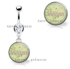 """Custom Your Name Belly Ring Navel Piercings CZ Gem Personalized 14ga 3/8"""" Curve"""
