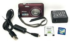 Nikon COOLPIX S4100 14.0MP Mini Digital Camera Plum Bundle w/ Accessories EUC