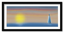 "Gloomy Sunset With Sailing Schooner, 14""x26"", Framed Panoramic Fine Art Print"