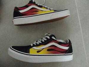 VANS Old School Flame Black Low-Cut Suede Leather Sneakers Shoes Men's 8/Wom 9.5
