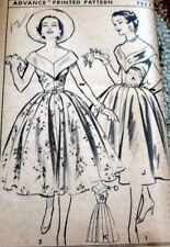 *LOVELY VTG 1950s DRESS ADVANCE Sewing Pattern 12/30 FF