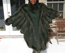 Mint Unique Full Length Green Fox Fur Coat Jacket S-L 4-14/16