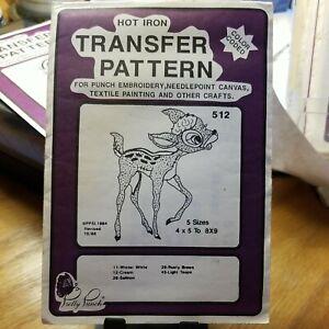 Pretty Punch Hot Iron Transfer Pattern #512 Small Deer like BAMBI EMBROIDERY