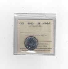 **1945**, ICCS Graded Canadian,  5 Cent, **MS-65**