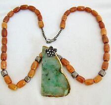 "24"" Necklace w/ A Grade Green JADEITE Jade Slab Pendant, Chalcedony Beads & COA"