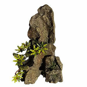 Rock Outcrop Aquarium Ornament 7 Inch Tall Realistic Rock Look With Added Plants