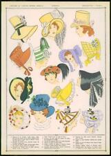 C1920 antica stampa francese Cappelli Cappelli Moda Donna Cappellini (97)
